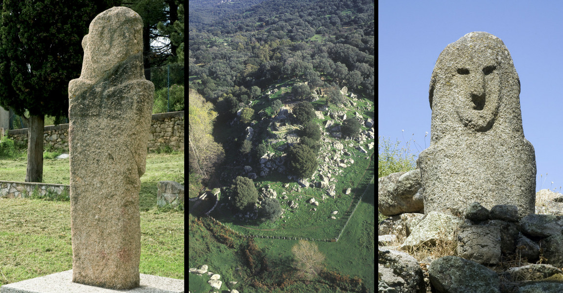 Statue-menhir d'Appriciani, Vue aérienne du site de Filitosa, Statue-menhir Filitosa IX