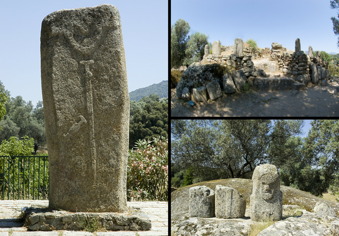 Statue- menhir Filitosa V, le monument central avec les fragments de menhirs retrouvés dans la muraille, Statue -menhir Filitosa VI